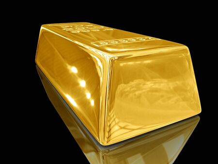 ore: Isolated gold bars on black background.