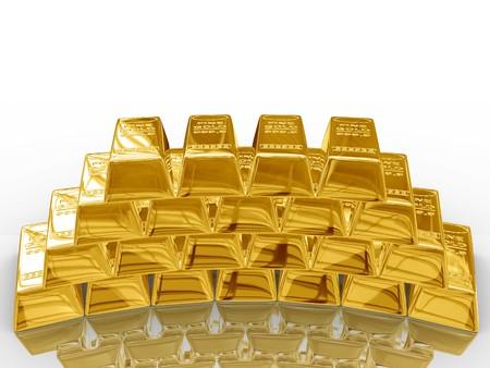 Isolated gold bars on white background.
