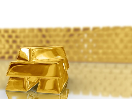 gold ingot: Isolated gold bars on white background.