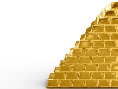 Isolated gold bars on white background.