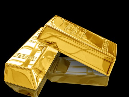 gold ingot: Isolated gold bars on black background.
