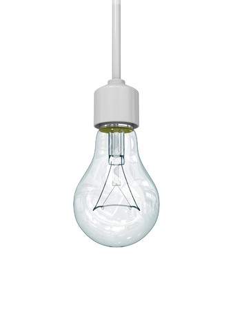Isolated light bulb with cord on white.