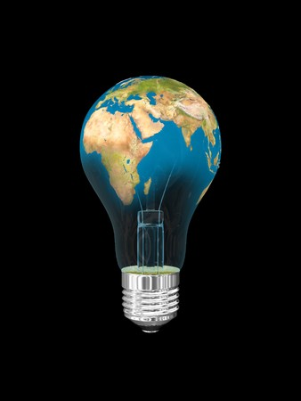 Light bulb in globe form. Isolated on black.