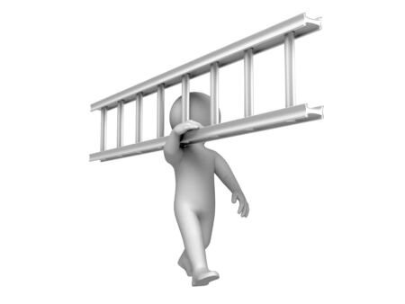 Person carry a ladder. Isolated on white. Stock Photo