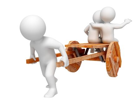 trundle: One person trundle other on wooden cart. Isolated.