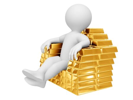 currency glitter: Person sit on gold ingots. Isolated on white.