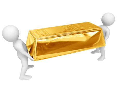 Two persons hold big gold ingot. Isolated on white. photo