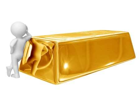 plenty: Person stand near big gold ingot. Isolated on white.