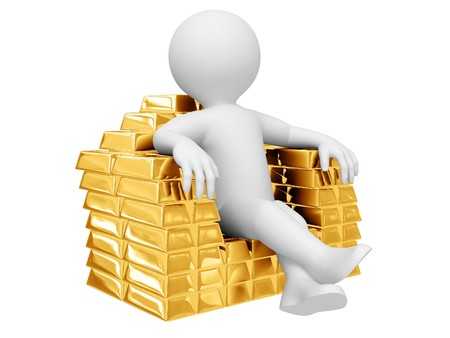 Person sit on gold ingots. Isolated on white.