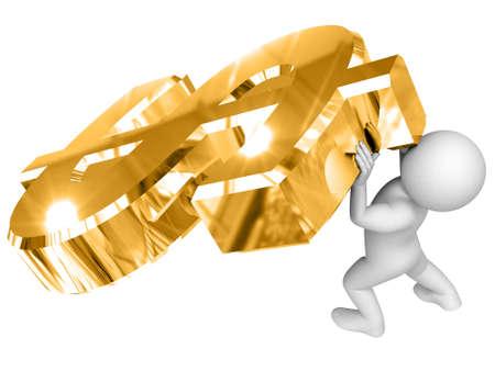 raise: Person raise big gold dollar sign. Stock Photo