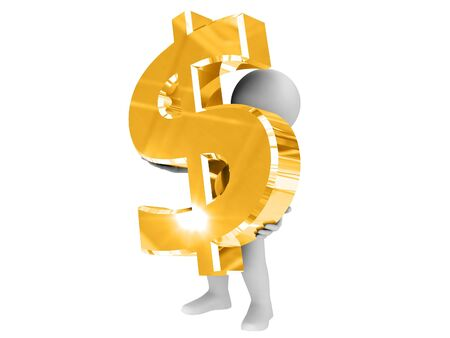 Person hold big gold dollar sign. Stock Photo