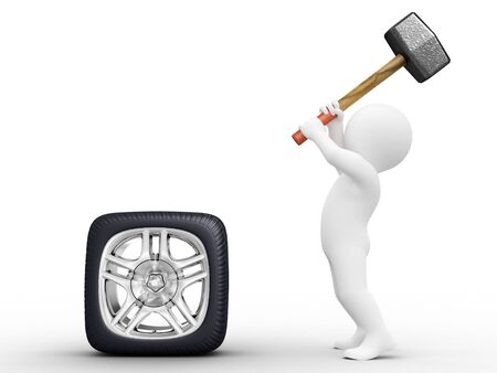 Person make square car wheel by hammer Stock Photo