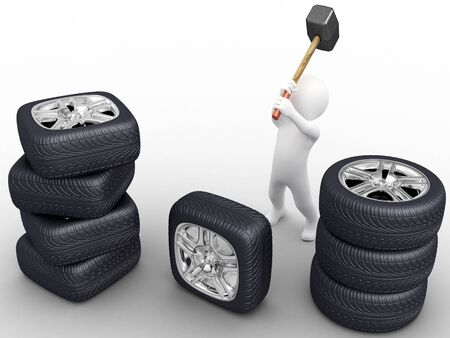Person make square car wheel by hammer photo