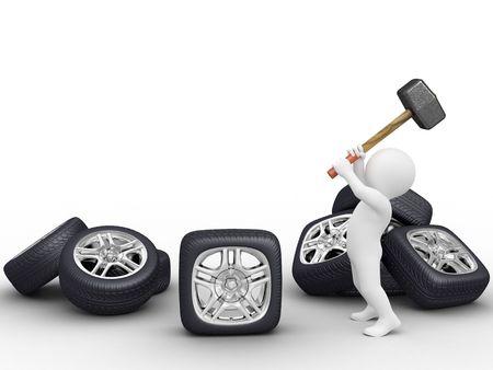 aluminum wheels: A hacer plaza coche rueda por martillo Foto de archivo