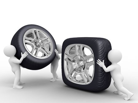 chrome wheels: One person roll square wheel, tho persons carry round wheel