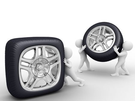 One person roll square wheel, tho persons carry round wheel photo