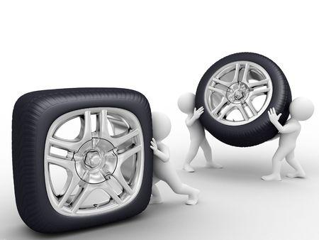 aluminum wheels: Una persona rollo cuadrados rueda, THO personas ronda llevar rueda Foto de archivo