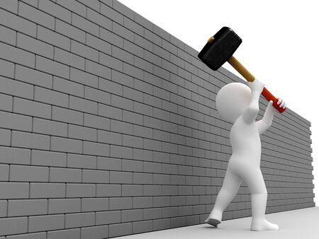 sledgehammer: Person prepare strike the wall with a sledgehammer. Stock Photo