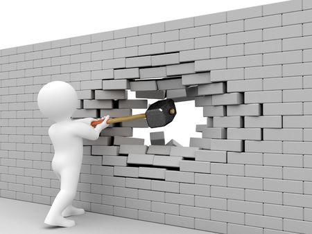 Person strike brick wall by sledgehammer.