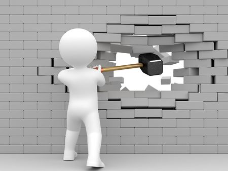 Person strike brick wall by sledgehammer. Stock Photo - 4933305