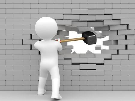 muro rotto: Persona sciopero mazza da muro di mattoni.