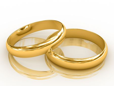 Two golden wedding rings with reflection. Isolated on white.