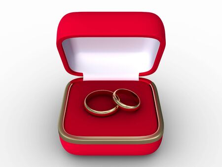 priceless: Two golden wedding rings in open red box. Isolated on white.