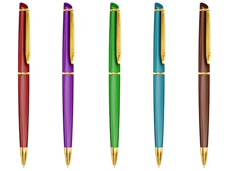 Set of 5 coloured isolated ballpoint pen. photo