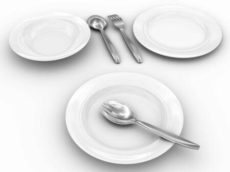 singularity: Singularity tableware. Isolated on white with shadows. Stock Photo