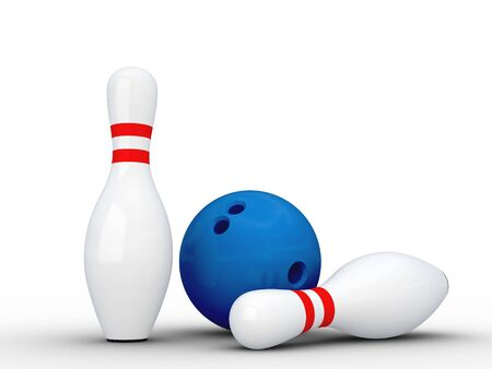 Two white bowling pins and bowling ball. Isolated on white with shadows. Stock Photo