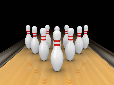White bowling pins on bowling track. Stock Photo
