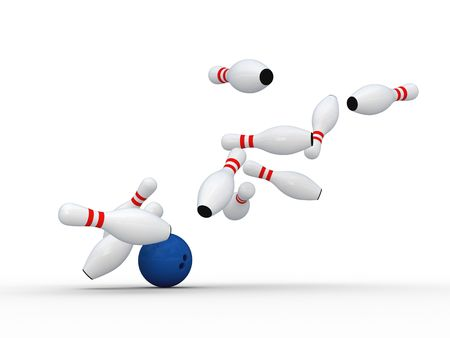 bowling strike: Bowling ball bring down pins. Isolated on white.