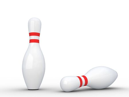 Two white bowling pins isolated on white with shadows.