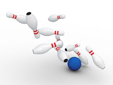 Bowling ball bring down pins. Isolated on white.