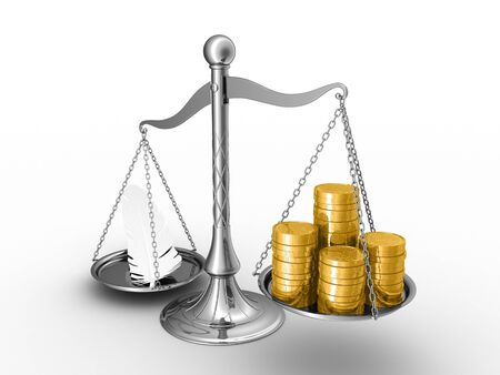 overbalance: The feather outweighs a stacks of golden coins.