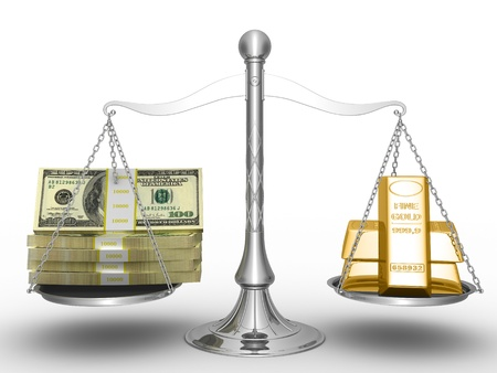 outweigh: Balance between stack of money and stack of gold.