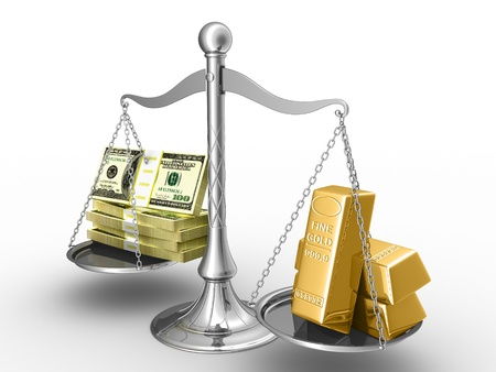 Balance between stack of money and stack of gold.