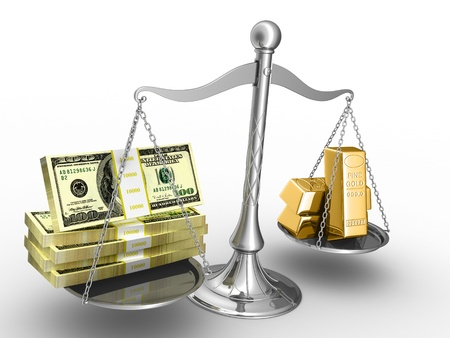 silver bar: Balance between stack of money and stack of gold.
