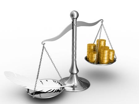 outweighs: La pluma supera un pilas de monedas de oro.