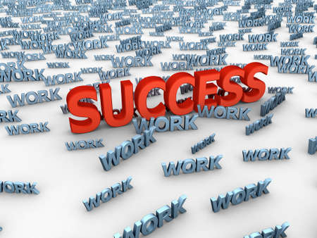 The big red word success among set of words work Stock Photo