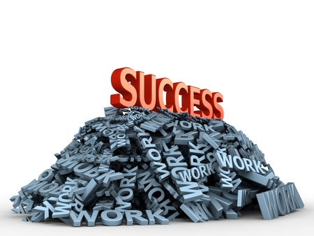 business efficiency: The big red word success on the big pile of words work