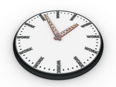 Clock with words work instead of digits. Stock Photo