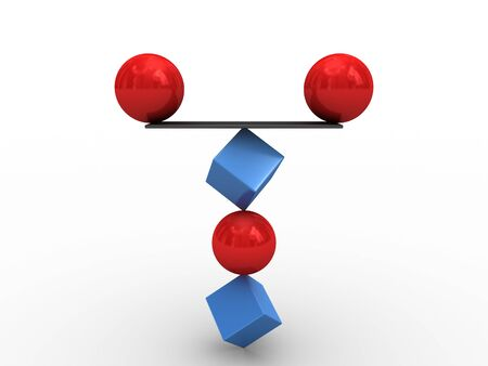 Two red spheres balance on an unstable figure
