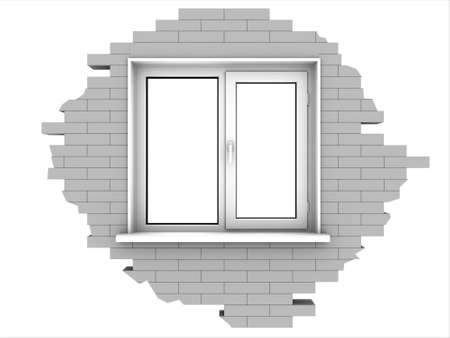 Window in a piece of a brick wall. Isolated on white. Stock Photo - 9183238