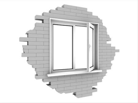 Window in a piece of a brick wall. Isolated on white. Stock Photo - 9183233