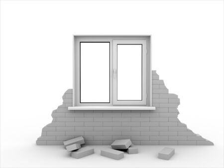 Window in a piece of a brick wall. Isolated on white. photo