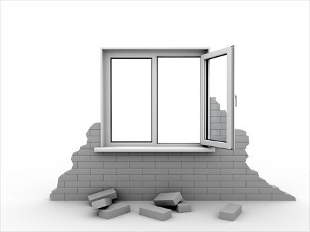 Window in a piece of a brick wall. Isolated on white.