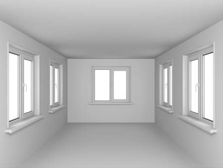 Empty room with windows. In gray color. photo