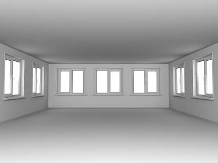 Empty room with windows. In gray color. Stock Photo