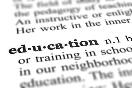 education word from dictionary, close up